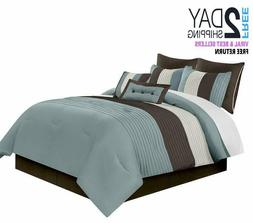 Chezmoi Collection 8-Piece Luxury Stripe Comforter Bed-in-a-