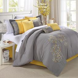 Chic Home 8-Piece Embroidery Comforter Set, Queen, Pink Flor