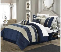 Chic Home Carlton 6-Piece Comforter Set, Queen Size, Navy