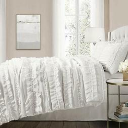 CHIC RUFFLES WHITE ** Queen ** COMFORTER SET : COUNTRY COTTA