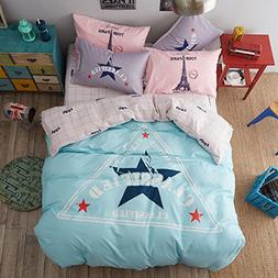 KFZ Children Bedding Cotton Duvet Cover Flat Sheet Pillowcas