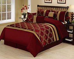 7 Piece CLAREMONT Burgundy Gold Lattice Leaves Embroiderd Co