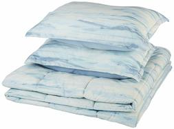 Comforter Set 3 Pc Blue Watercolor Microfiber Ultra Soft Fee