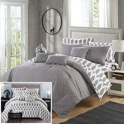 Chic Home 10 Piece Comforter Set Queen Grey