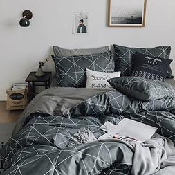 VClife Queen Black-gray Duvet Cover Sets Modern Plaid Geomet