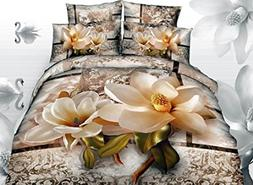Ammybeddings Cotton Bedding Sets Queen, Luxury Bright Magnol