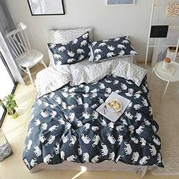 VClife Kids Elephant Duvet Cover Queen Cotton geometrical Wa