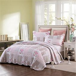 100% Cotton Shabby Chic Pink Floral Queen Quilt Bedding Set