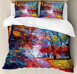 Ambesonne Country Decor Duvet Cover Set, Colorful Fairy Pain