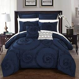 Chic Home CS2213-AN 7 Piece Rosalia Floral Ruffled Etched Em