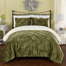 Chic Home 3 Piece Josepha Pinch Pleated Ruffled and Pin Tuck