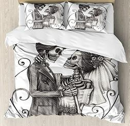 Ambesonne Day Of The Dead Decor Duvet Cover Set, Love Valent