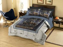 Deer Wildlife FULL/QUEEN Comforter Set wth Pillow Shams Rust