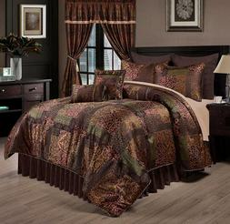 Deluxe Silky Brown Gold Jacquard Floral 9 pc Cal King Queen