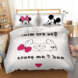 Disney Mickey Mouse cartoon printed bed linens set queen <fo