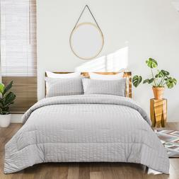 Seersucker Soft Premium Down Alternative Comforter Set Queen