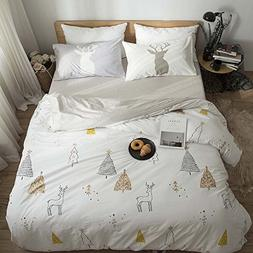 VClife Duvet Cover Queen for Boys Girls, Cream Grey Tree Dee