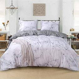 Smoofy 3 Piece Duvet Cover Set, Marble Luxury Quilt Cover 10