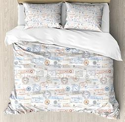 Ambesonne Travel Duvet Cover Set Queen Size, Vintage Old Rub