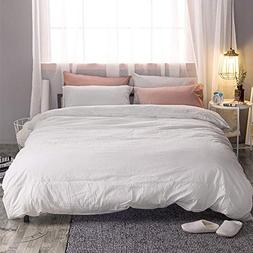 MooMee Duvet Cover Set Solid Off White Washed Cotton Home Be