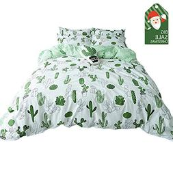 VClife 3 pcs Duvet Cover Sets Queen/Full Green Cactus Patter