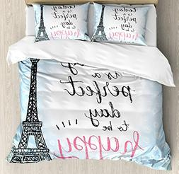 Ambesonne Eiffel Tower Decor Duvet Cover Set, Perfect Day Ei