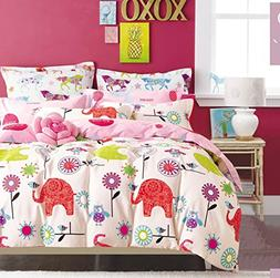 Cliab Elephant Owl Bedding Pink Purple Green Queen Size Bird