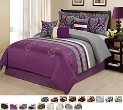 7 Piece Embroidered Tree Branch Print Pattern Comforter Set