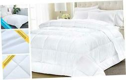 Equinox All-Season White Quilted Comforter - 88 x 88 Inches