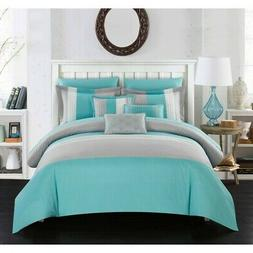 Chic Home Eyelet 10 Piece Comforter Set Color Block Ruffled