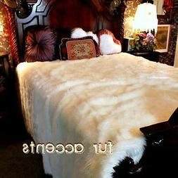 Faux Fur Bedspread - Comforter - Throw Blanket - White - Lux