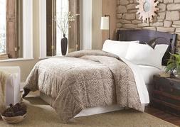 Cannon Faux Fur Brown & Black Pattern Comforter - Full/Queen