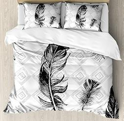 Ambesonne Feather Duvet Cover Set Queen Size, Faded Geometri