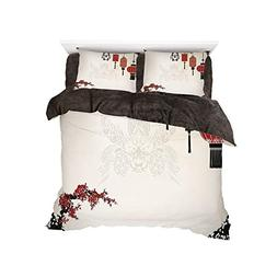 Flannel 4 Piece Cotton Queen Size Bed Sheet Set for Bed Widt