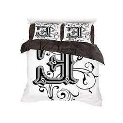iPrint Flannel 4 Piece Cotton Queen Size Bed Sheet Set for B