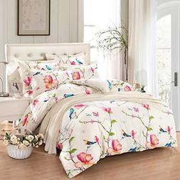 Wake In Cloud - Floral Comforter Set, Botanical Flowers and