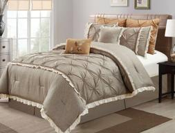 Chezmoi Collection Floral Pintuck Pleats Faux Linen Taupe Be