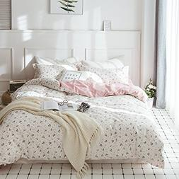 HIGHBUY Floral Printed Kids Duvet Cover Set Full Cotton Pink