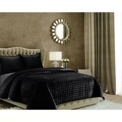 Tribeca Living Florence Chic Black Over Sized Queen Quilt Se