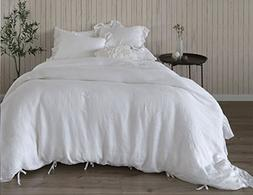 MEADOW PARK 100% Pure French Linen Duvet Cover Set, Frayed E