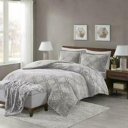 Full Queen Cal King Bed Solid Silver Gray Trellis Faux Fur 4