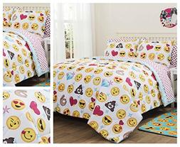 Emoji Girls Complete 5 Piece Reversible Bedding Comforter Se