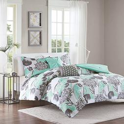 5 Piece Girls Mint Grey Floral Theme Comforter Full Queen Se