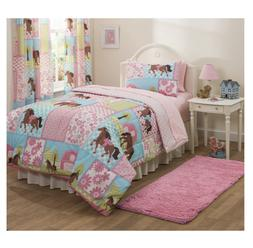 Girls Pony Country Horse Bed in Bag Comforter 5 PC Set Beddi