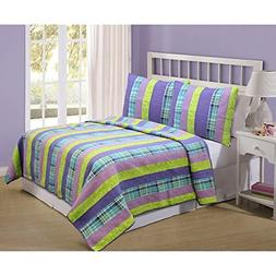 3 Piece Girls Purple Blue Green Striped Theme Quilt Full Que