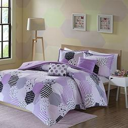 girls purple grey geometric comforter