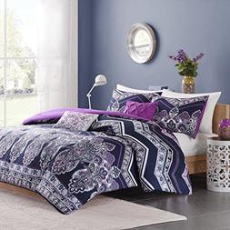 5 Piece Girls Purple Navy Blue Medallion Floral Comforter Fu