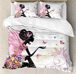 Ambesonne Butterfly Duvet Cover Set Queen Size, Abstract Sil