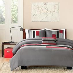 4pc Girls Red Black Gray Maverick Comforter Full Queen Set,