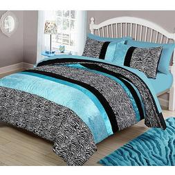 3 Piece Girls Teal Blue Zebra Print Comforter Full Queen Set